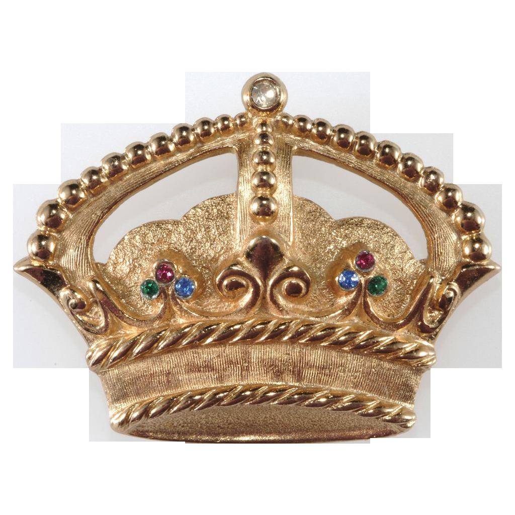 Napier Golden Rhinestone Crown Pin Brooch