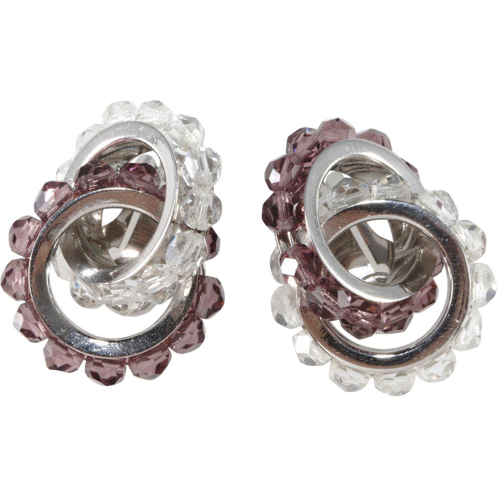 Napier Purple & Clear Interlocking Crystal Earrings