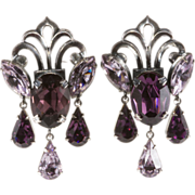 Napier 1950s Purple Dangle Rhinestone Earrings