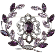 Napier 1950s Purple Rhinestone Garland Brooch Pin