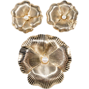 Napier Sterling Silver Gold-Wash '40s Pansy Brooch / Earrings