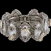 Rodrigo Otazu Massive Clamper Glass Moonstone Rhinestone Bracelet