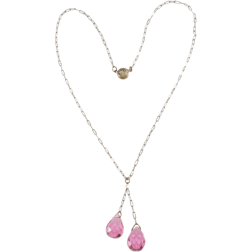 1920s Pink Crystal Briolette Necklace