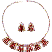 Red & Iridescent Rhinestone Necklace Earrings Set