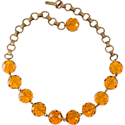 Regina Fashions Amber Glass Bead Necklace