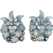 Robert Blue Enamel Flower & Bead Earrings