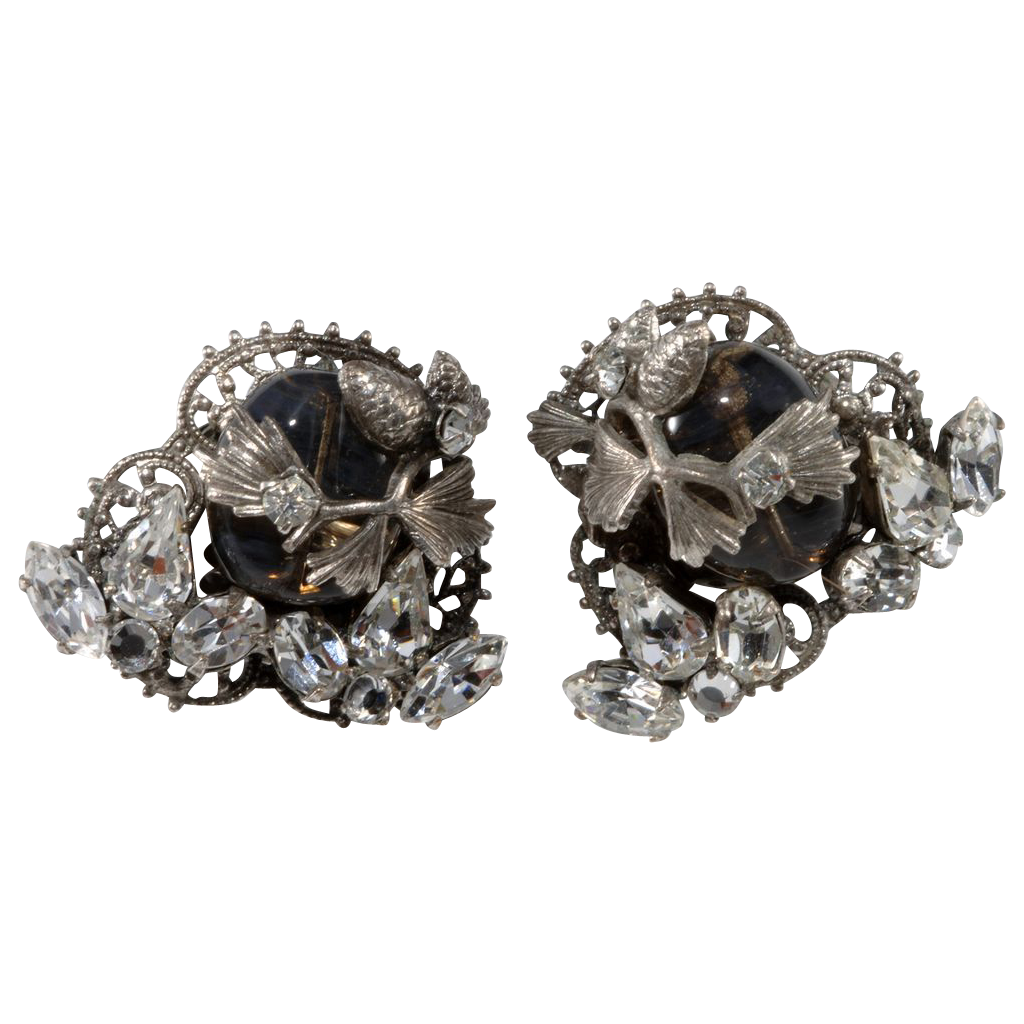 Original by Robert Gray Bead & Rhinestone Earrings
