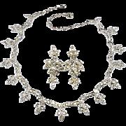 Sarah Coventry 1964 World's Fair Rhinestone Necklace Earrings Set