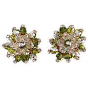SALE Schiaparelli Green Cluster Rhinestone Earrings