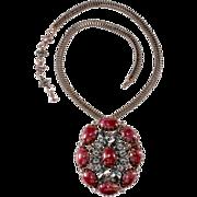 Schreiner Art Glass & Rhinestone Necklace / Brooch
