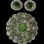 Schreiner Green Rhinestone Brooch Earrings Set