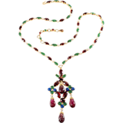 Schreiner Jewel Tone Rhinestone Dangle Necklace
