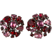 Schreiner Red & Pink Rhinestone Collage Earrings