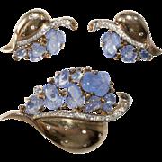 Trifari Blue Fruit Salad Floraleaf Brooch Earrings Set Vintage 1940s