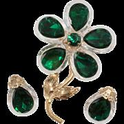 West Germany Lucite & Rhinestone Flower Brooch Earrings Set