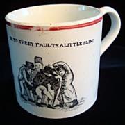 Early Creamware Child's Mug ~ Shoving Off 1830