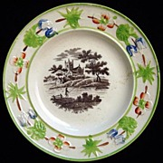 Pearlware Child's Plate ~ FISHING 1820