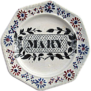 Early Child's Transferware Pearlware Name Plate ~ MARY