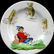 Childs Miniature Transfer Printed Plate c1900 ~ Dancing Pigs Pied Piper