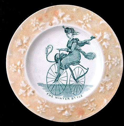 Rare Childs Caricature Plate ~ Lady Velocipede Bicycle