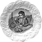 Rare Early Pearlware Child's Plate ~ CHRISTMAS DAY Pudding Pie