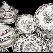 Pearlware Miniature Botanical 35pc Dinner Service c1840 Morley Staffordshire
