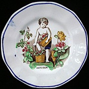 Antique Child's Pearlware Plate ~ October 1840