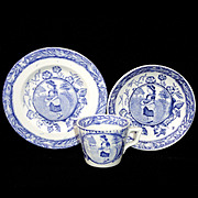 Early Child's FLOW BLUE 3pc Tea Set ~ Little May with Apron of Eggs
