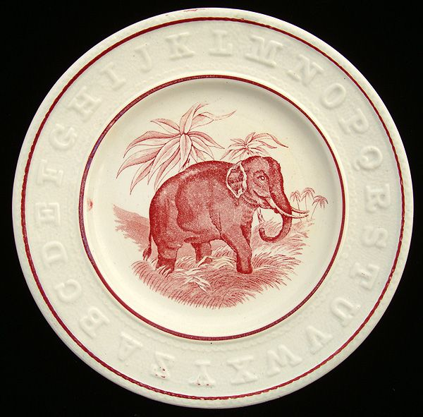 Early Red Pearlware ABC Plate ~ ELEPHANT 1840