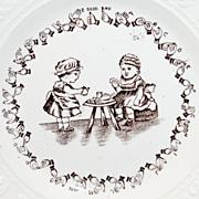 Rare Childs Sign Language Alphabet ABC Plate ~ TEA PARTY Deaf Children c1840
