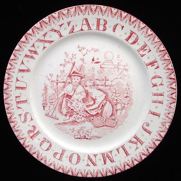 Red ABC Alphabet Nursery Plate ~ Gardening Girls 1890