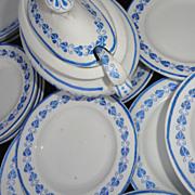 Childs 40pc Dinner Set 1890 BLUE HEARTS Copeland Staffordshire LADLES
