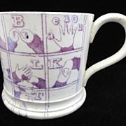 Rare Purple Sign Language Alphabet Child's Mug ~ 1830