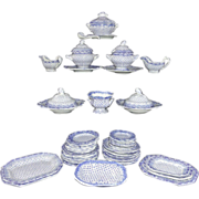 SALE Pearlware Miniature Dinner Service c1840 Dimmock Dimity Staffordshire
