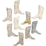 SALE A Collection of Early American Stoneware Miniature Equestrian Boots Doll Shoes