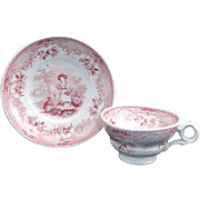 SALE Miniature Pearlware Transferware  Childs Cup & Saucer Set  JUVENILE ~ RABBITS  Wood & Brownfield  Staffordshire c1840