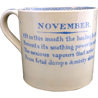 SALE Early Staffordshire Childs Pearlware Mug MONTHS OF THE YEAR ~ NOVEMBER c1830