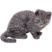 SALE Antique Cold Painted Vienna Bronze Curious Cat Ready for Play c1900