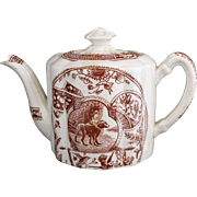 SALE 19th cTransferware Childs Teapot ~ Girl with Newfoundland Dog ~ Allerton