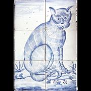 SALE A Dutch Delft CAT Hand Decorated Six-Tile Panel