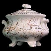 c1835 Rare Pearlware Toy Staffordshire Sugar ~ Exotic Birds
