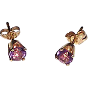Amethyst Post Earrings in 14k Setting