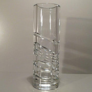 Clear Cut Crystal Cylinder Vase by Olle Alberius  - Orrefors Sweden