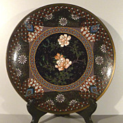 Japanese Cloisonne Plate - Bronze with Goldstone and Silver Wire