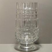 Exbor Faceted Clear Glass Vase - Czechoslovakia