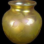 Rare Dan Shura Gold Iriscene Art Glass Vase - Orient & Flume 1981