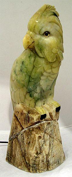 Large Art Deco Carved Alabaster Parrot Lamp