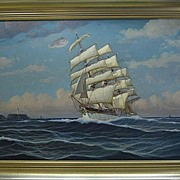 Large Signed Maritime Oil Painting of a Clipper Ship