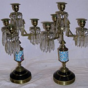 Eastlake Victorian Candleabras With Longwy Porcelain