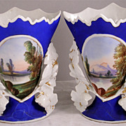 """Lovely Pair of """"Old Paris"""" Scenic Vases"""